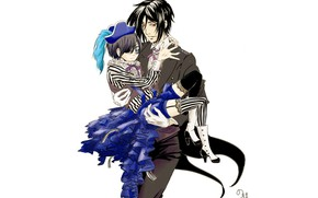 Picture art, white background, Sebastian, Ciel phantomhive, Kuroshitsuji, dark Butler book fucking pup, Book of Circus