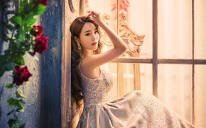 Picture look, girl, light, flowers, pose, wall, portrait, roses, hands, dress, window, outfit, Asian, sitting, photoshoot
