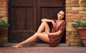 Picture sexy, pose, model, portrait, makeup, figure, dress, hairstyle, brown hair, legs, sitting, barefoot, Eikonas, Kseniia …