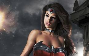 Picture look, girl, makeup, costume, Wonder Woman, Cosplay