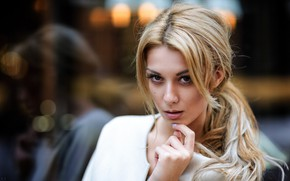 Picture look, pose, model, portrait, makeup, hairstyle, blonde, beauty, in white, bokeh, Eikonas