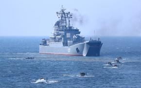 Picture ship, large, exercises, landing, Minsk