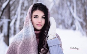 Picture winter, look, snow, trees, background, model, portrait, makeup, brunette, hairstyle, beauty, shawl, coat, mittens, sweater, …
