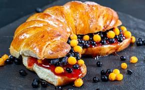Picture berries, jam, sandwich, bun, sea buckthorn, elder