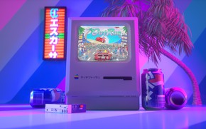 Picture Apple, Auto, Music, The game, Computer, Machine, Style, Art, Art, 80s, Style, Neon, Macintosh, Player, …