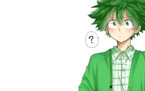 Wallpaper look, white background, guy, Boku no Hero Academy, Midori Isuku, My heroic academia, Izuku Midoriya