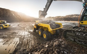 Picture stones, Volvo, excavator, the ground, quarry, dump truck, loading, mining truck, Volvo A60H, big truck