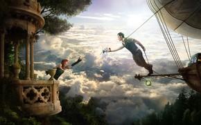 Picture girl, guy, dirigible