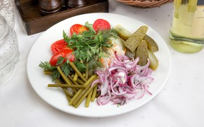 Picture bow, tomatoes, cabbage, parsley, cucumbers, pickles