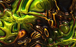 Picture abstraction, green, brown, plasma, melting, diffusion, mixing