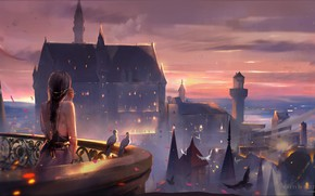 Picture the sky, girl, castle, the evening, pigeons, tower, balcony, long hair, spires, art, the light …
