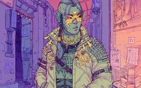 Picture Music, Style, Girl, Fantasy, Art, Art, Style, Fiction, Illustration, Sci-Fi, Cyberpunk, Cyberpunk, Synth, Retrowave, Synthwave, …