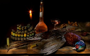 Picture wine, bird, glass, bottle, food, candle, black background, still life, cartridges, items, composition, pheasant, game