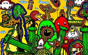 Picture fantasy, mushrooms, Mario, figure, mario, abstraction, psychedelic, psychedelic, psy artwork
