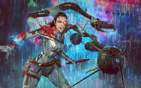 Picture girl, rain, cyborg, drones