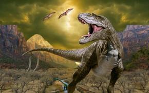 Picture Mountains, Predator, Animals, Photoshop, T-Rex, Tyrannosaurus, Grin, Dinosaurs, Tyrannosaurus Rex, Dinosaurs, Древние животные, Доисторические