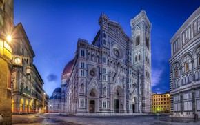 Picture twilight, Italy, Florence Cathedral, The most holy Mary of the Flower