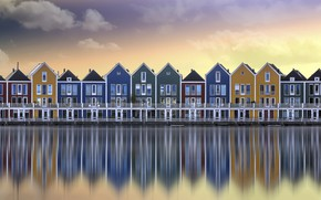 Picture water, the city, houses, Netherlands