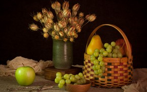 Picture flowers, Apple, bouquet, grapes, still life, basket