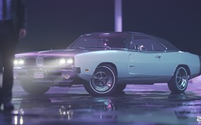 Picture Auto, Night, Machine, Style, 1969, Lights, Car, Male, Render, Neon, Dodge Charger, Rendering, Puddles, Retrowave, …