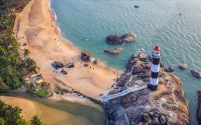 Picture lighthouse, India, Karnataka, Удупи, пляж Капу