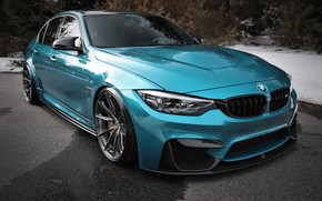 Picture BMW, Winter, Snow, F80, Sight, Angel eyes