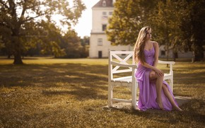 Picture look, girl, trees, bench, pose, house, dress, legs, sitting, Stefan Häusler