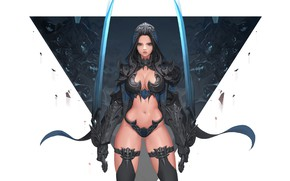 Picture Girl, Fantasy, Beautiful, Sexy, Art, Style, Concept Art, Demon Hunter, Minimalism, Sword, Characters, Armor, Swords, …