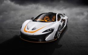 Picture white, art, hypercar, McLaren P1