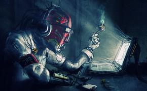 Picture fantasy, Robot, computer, headphones, science fiction, sci-fi, artwork, table, fantasy art, futuristic, pipe