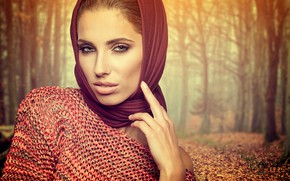 Picture autumn, look, leaves, trees, Park, background, portrait, makeup, brown hair, beauty, shawl, bokeh, Izabela Magician