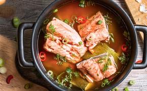 Picture fish, pan, ear, salmon