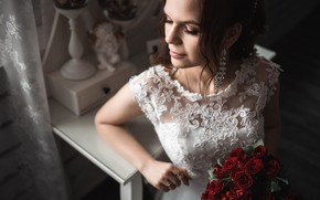 Picture girl, light, flowers, pose, photo, bouquet, dress, the bride, Tatiana, Vladimir Vasiliev