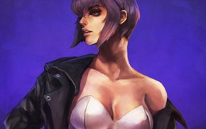 Picture chest, girl, anime, art, jacket, cyborg, Ghost in the Shell, the fireworks kusanagi