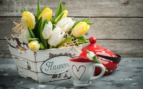 Picture style, bouquet, yellow, kettle, Cup, tulips