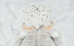 Picture winter, snow, love, heart, love, heart, winter, mittens, snow, romantic, hands, valentine