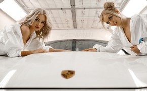 Picture two, garage, makeup, blonde, car, model, beauty, in white, hairstyles, bokeh, sexy, posing, Alexander Semania, …