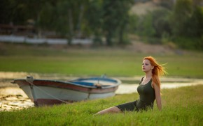 Picture summer, grass, look, girl, nature, pose, river, the wind, boat, figure, red