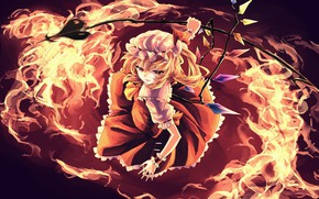 Picture girl, fire, Touhou, Touhou