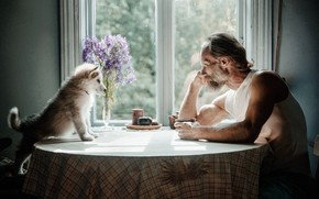 Picture table, interior, dog, male, the conversation
