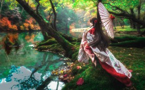 Picture girl, trees, river, umbrella, hair, doll, outfit, Asian