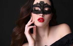 Picture face, pose, hand, portrait, makeup, mask, hairstyle, lips, brown hair, beauty, black background, in black, …