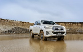 Picture white, water, Toyota, pickup, Hilux, Special Edition, quarry, 2019