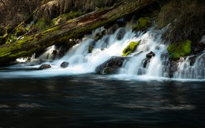 Picture river, stones, waterfall, log