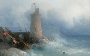 Picture storm, tower, picture, seascape, 1866, Ivan Aivazovsky, On The Rocky Shore