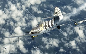 Picture Messerschmitt Bf.109, single-engine piston fighter-low, the attack on the bombers, Smash them, Break them up