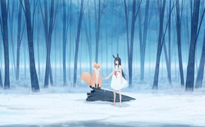 Picture winter, forest, girl, snow, rabbit, Fox, ears