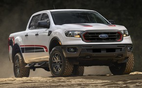 Picture sand, white, Ford, pickup, Ranger, Tremor, XLT, 2021, double cab