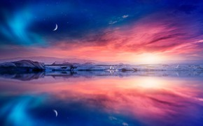 Picture winter, the sky, stars, clouds, light, landscape, sunset, birds, nature, reflection, rendering, the moon, planet, …