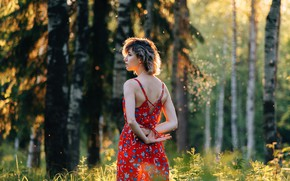 Picture forest, summer, girl, the sun, photo, sundress
